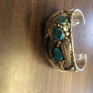 Navajo silver turquoise coral bearclaw bracelet